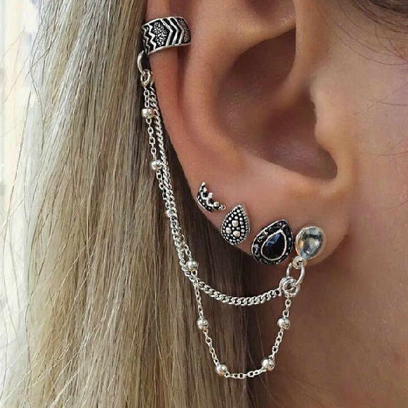 Punk Style Metal Earrings Set National Element Vintage Earrings Antique Silver Color Brooch Ear Cuff Fashion Special Gift  E0405