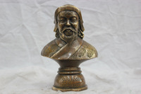 17.8 cm * /China Pure Bronze Genghis Khan Bust Statue Carved Auspicious Flowers Free shipping