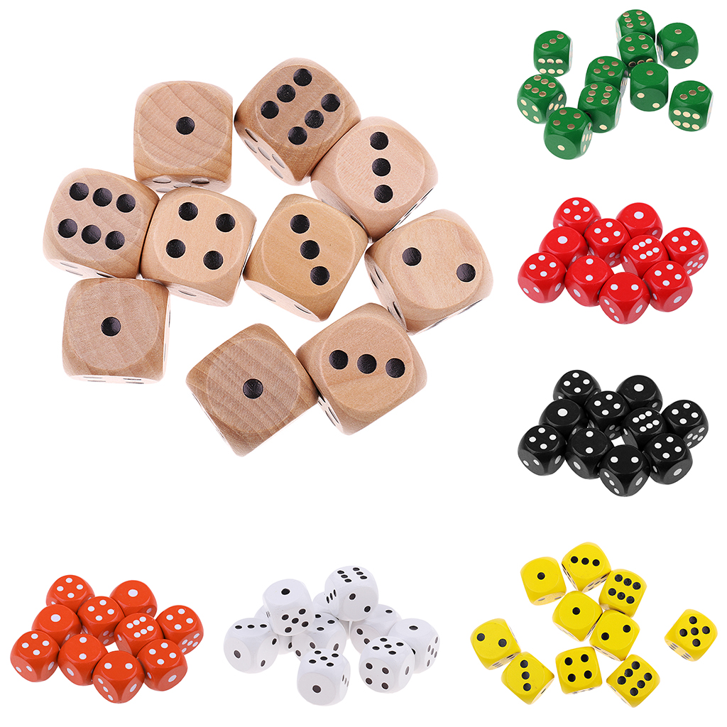 10Pieces Wooden Dice D6 Six Sided Dotted Dice for Table Games Role Playing Games Dungeons and Dragons image