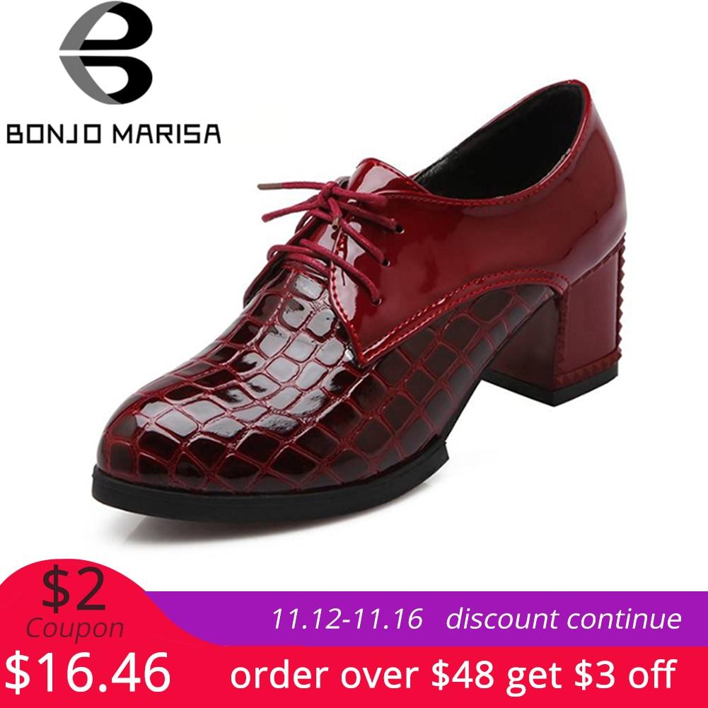 BONJOMARISA Fashion Vintage Lace Up Ol Pumps Women Big Size 34-43 Western Style Platform High Heels Dress Shoes Woman Footwear цена 2017