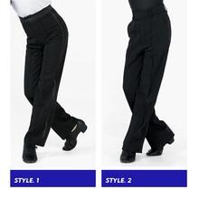 Czarne latynoskie nowoczesne spodnie do tańca towarzyskiego chłopięce męskie spodnie do tańca latynoskiego