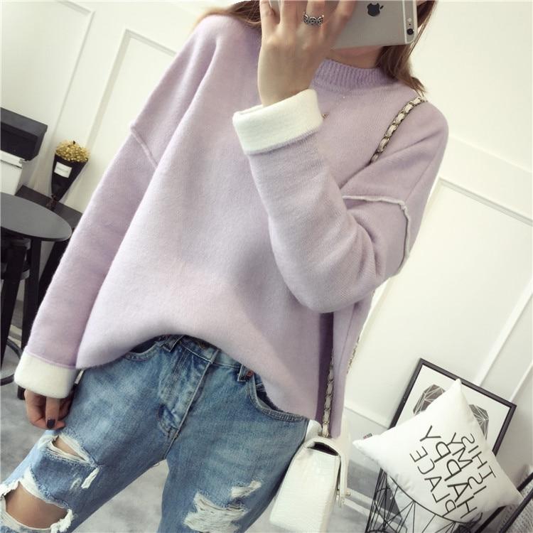 Hiver cou Laine Cachemire Manches Lâche White purple Pulls G561 Mode Plus Chauve souris En gray 2016 Chandail Pull rice Femmes La Taille Pink Sexy Automne O L5j4AR