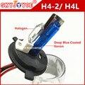 2X hid xenon H4-2 AZUL ESCURO REVESTIDO Dupla H4 halógena Xenon H4-2 35 W 55 W Substituição xenon H4L filme casaco Azul profundo para o kit hid