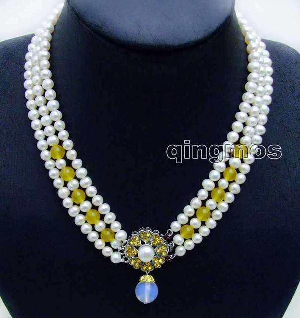 "6-7mm White Round Natural FW pearl and Yellow Jade 3 strands 18-19"" necklace & Opal prndant-6105 wholesale/retail Free shipping"