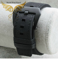 22mm New High Quality Black Sports Nylon Watch Band Strap With Genuine Leather Lining Choice Of
