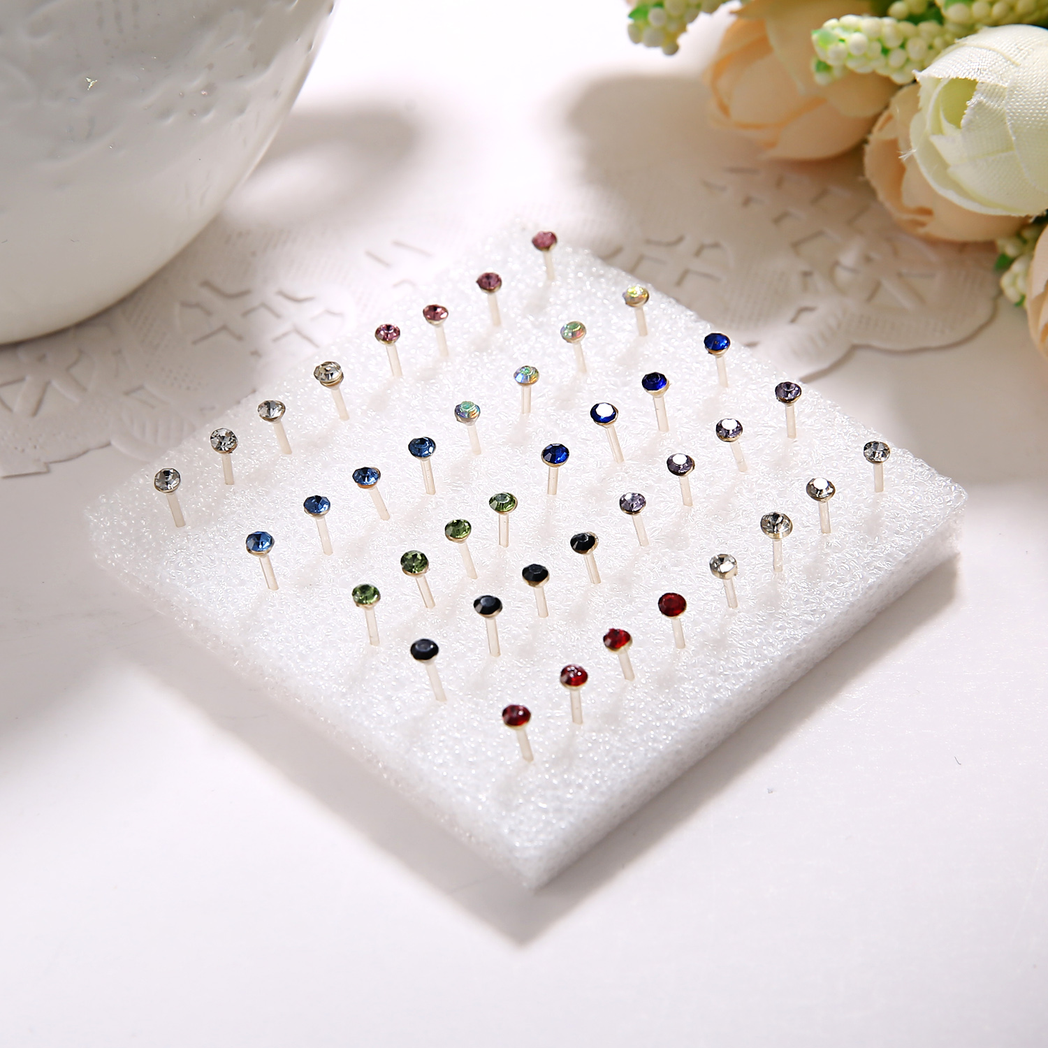 20 Pair/Set Women Girl Rhinestone Crystal Ear Stud Earrings Mixed Styles Round Small Earrings Sets Party Jewelry Gift 2 3 4 5mm