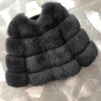 Модная женская зимняя куртка из натурального Лисьего меха фуффли серая Верхняя одежда Европейский стиль femme женская верхняя одежда с кругл