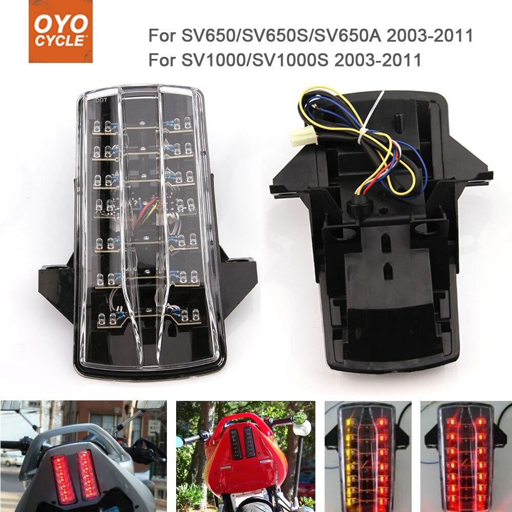 Motorcycle Integrated LED Tail Light Brake Turn Signal Blinker For  Suzuki SV1000 SV1000S SV650 SV650S SV650A 2003-2011