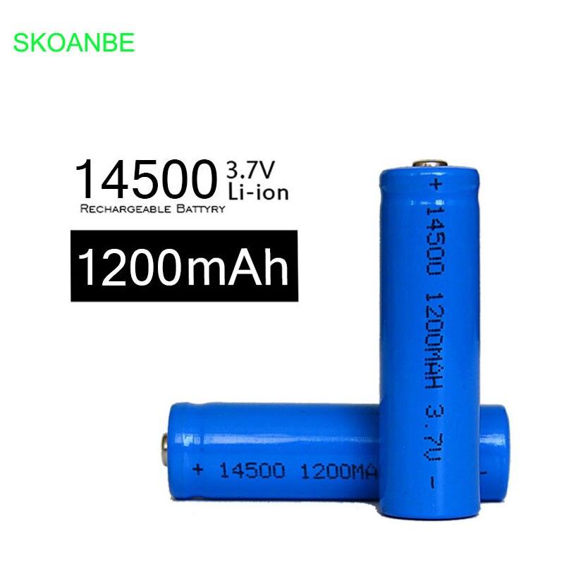 4X14500 battery 3 7V 1200mAh rechargeable li ion battery 14500 liion battery for Led flashlight 14500