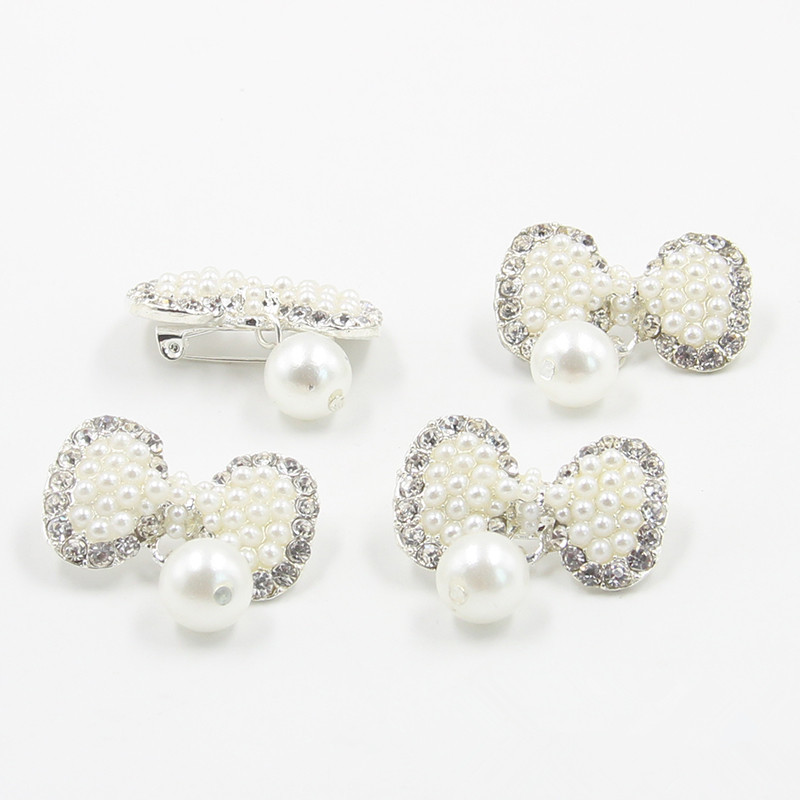 Fashion Mini Brooch Imitation Pearls Brooch Pin For Women Rhinestones Crystal Wedding Bow Jewelry Accessorise(China)