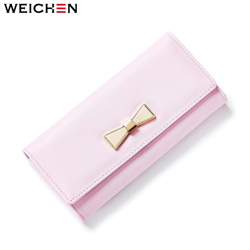 WEICHEN 2017 New Design Bow Long Wallet for Women Soft PU Leather Female Purse Ladies Card Coin Phone Pocket Purses Lady Bolsas 2017 new ladies purses in europe and america long wallet female cards holders cartoon cat pu wallet coin purses girl