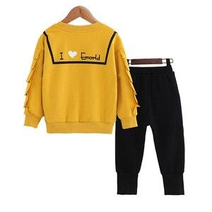Image 5 - בנות בגדים סטי אביב סתיו ילדים ארוך שרוול חולצות + מכנסיים חליפה חדש הילדה Outewear ילדי בגדי סט 4 13Y