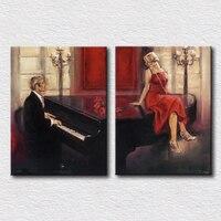 Güzel yağlıboya resim of piyanist ve seksi kadın yağlıboya yatak dekorasyon hediye