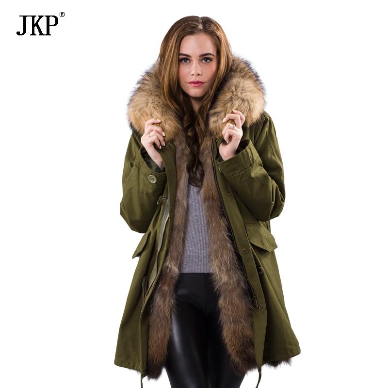 US $182.58 49% OFF|2018 Winter Frauen Echtpelz Parka Weibliche Damen Jacke Abnehmbare Waschbärpelz Futter Parka Mantel Big Echt Waschbären Pelzkragen