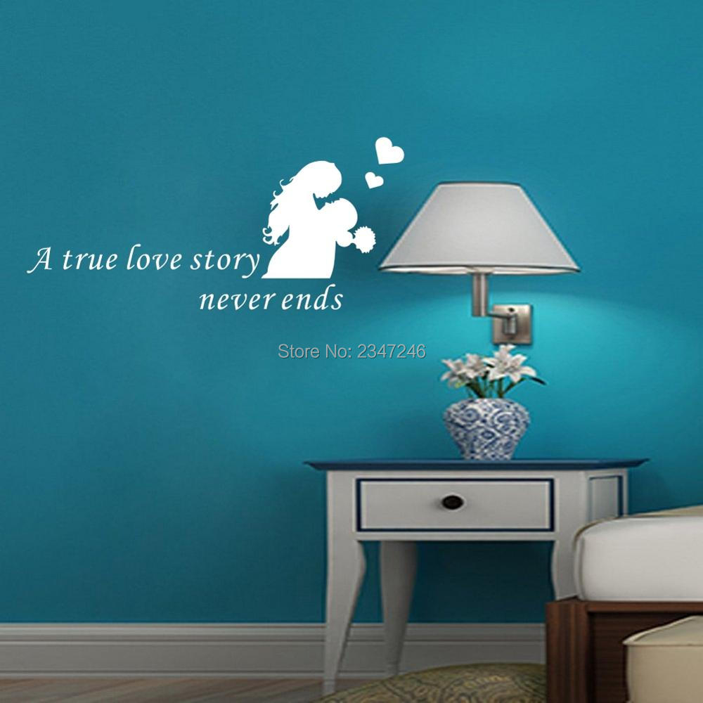 online get cheap wall decals quotes aliexpress com alibaba group love quote wall decals a true love story never ends lover vinyl wall sticker couple art
