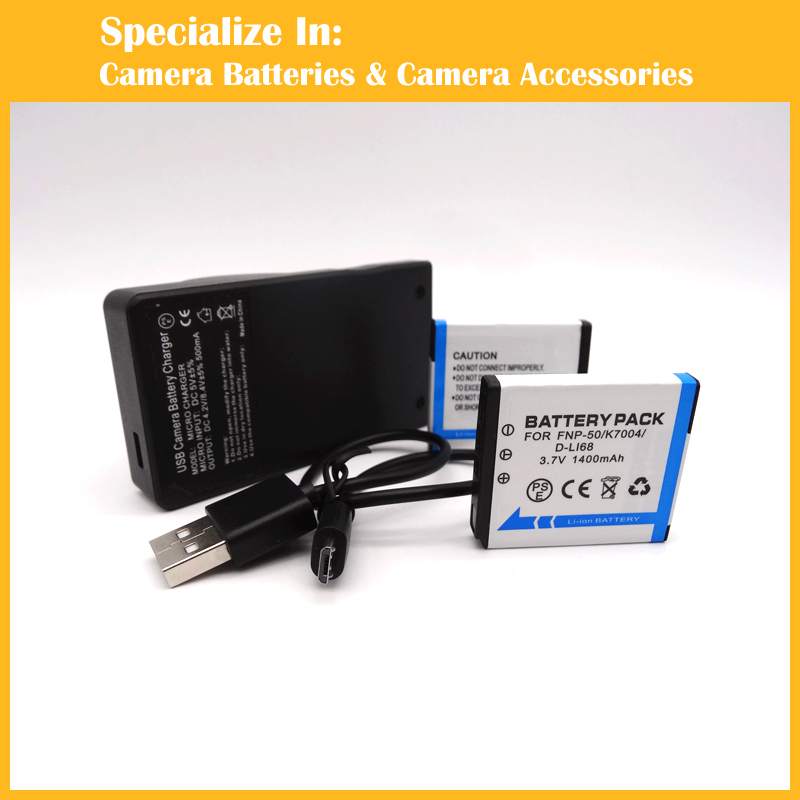 Replacement Li ion 2 x Battery charger FNP 50 NP50 For Fuji camera F50fd F60fd F100fd