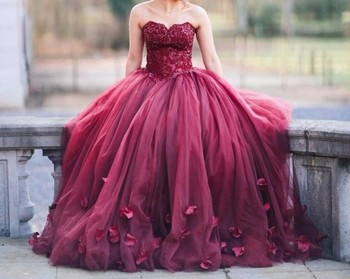 2019 Vestido De Noiva Vintage Red Ball Gown Wedding Dress Sexy Off Shoulder Lace Tulle Cheap Flowers Wedding Bridal Gowns
