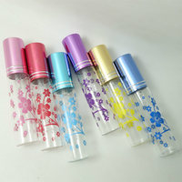 100pcs/lot 10ml Bronzing Pattern Six Star Flower Glass Cosmetics Perfume Spray Bottle Refillable Portable Atomizer Scent Bottle
