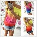 2016 mujeres del verano de la camiseta vestidos rainbow cambio gradual imprimir tops casual mujer