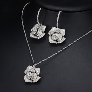 Image 3 - CWWZircons Fashion Brand Women Jewelry Beautiful Micro Pave Cubic Zirconia Flower Drop Pendant Necklace And Earrings Set T065