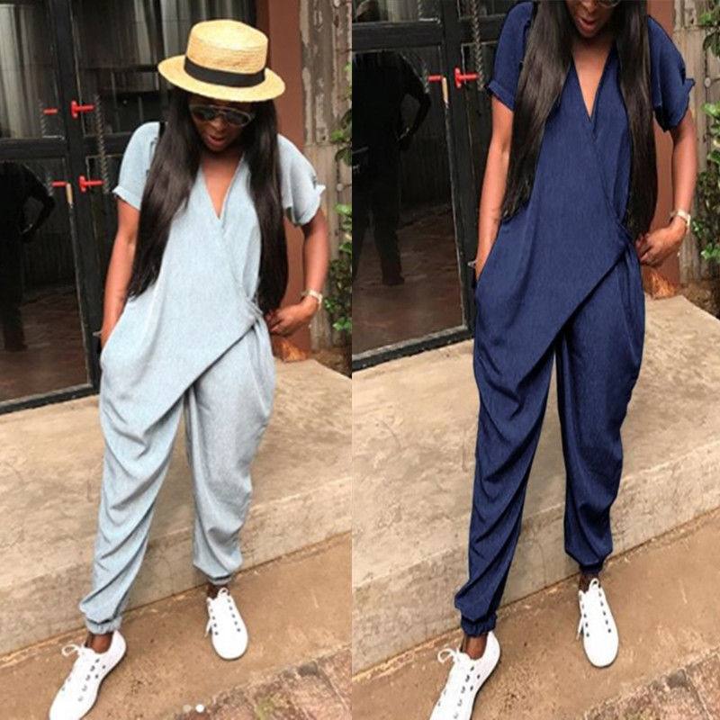 Women Clubwear For Female Playsuit Solid Casual Short Sleeve Party   Jumpsuit   Ankle Length Romper Trousers Pants 2018