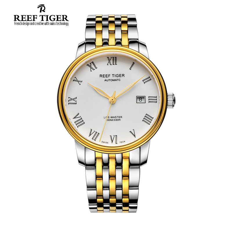 Reef Tiger/RT Famous Business Watch for Men Yellow Gold Steel Watch with Date Dress Automatic Watches Roman Numeral RGA812 best selling reef tiger rt classic business watches for men rose gold steel automatic watch with date rga823