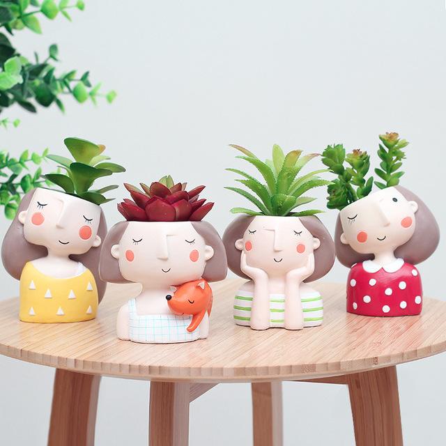 Flower Girl Planter Set – 4pcs European Style Succulent Plants Planter Pot Mini Bonsai Cactus Flower Pot  Home Decor Craft