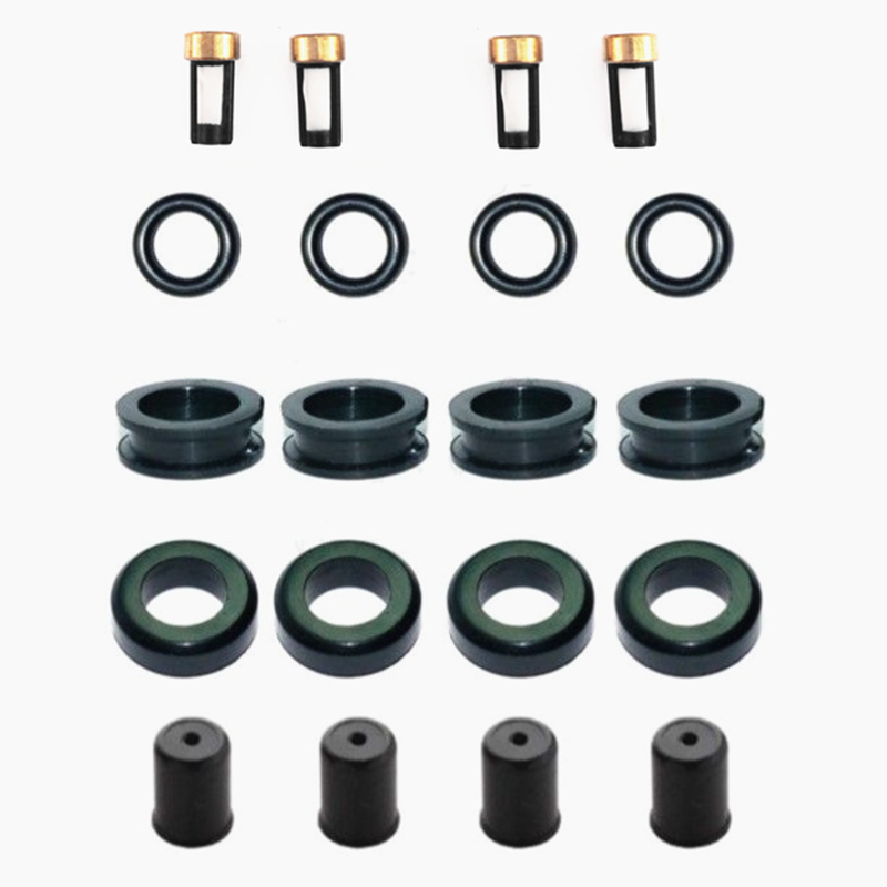 4sets Fuel Injector Service Repair Kit Seals Filters Caps For Mazda RX-7 1.3L CSKDO64 87-88  #195500-1350 195500-20409(AY-RK059)