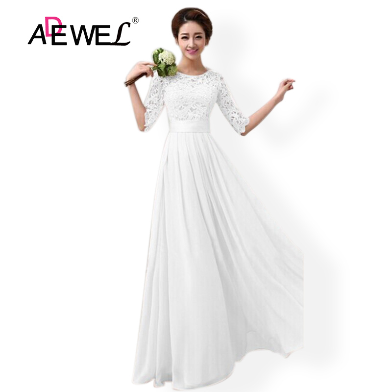 ADEWEL Elegant Chiffon Half Sleeve White Lace Party Long Dress Women Evening Gowns Wedding Party Floor Length Dresses S-XXL