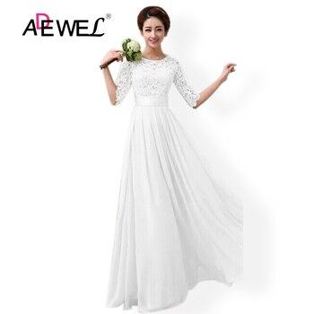 51ed18aef ADEWEL elegante chifón de media manga de encaje blanco de fiesta Vestido  largo de noche de