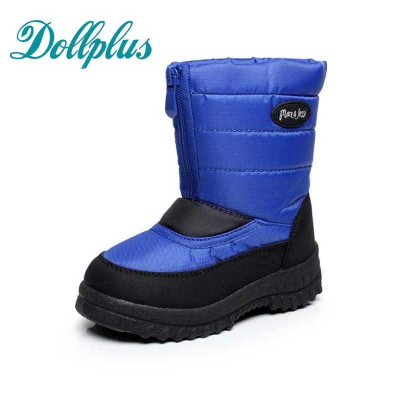 2017 New Winter Children'S Snow Boots Waterproof Non-Slip Boys Boots Kids Girls Outdoor Warm Shoes Eur Size 25#-30 2016 new winter kids snow boots children warm thick waterproof martin boots girls boys fashion soft buckle shoes baby snow boots