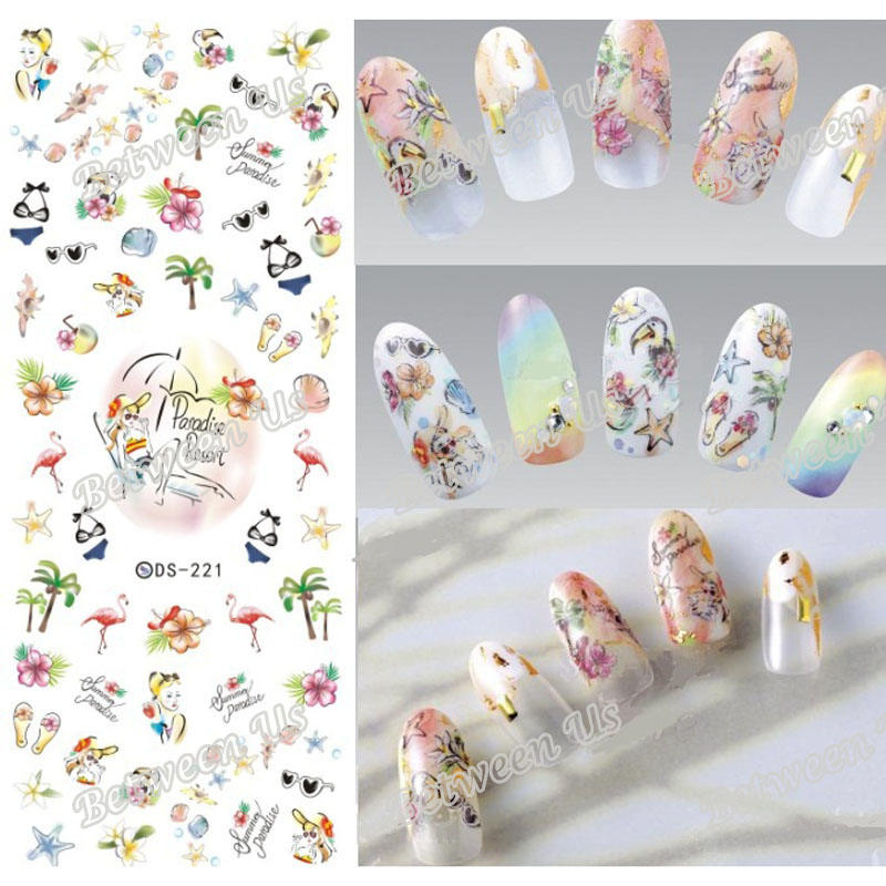 New Water Transfer Nail Art Stickers Water Nail Decals Summer