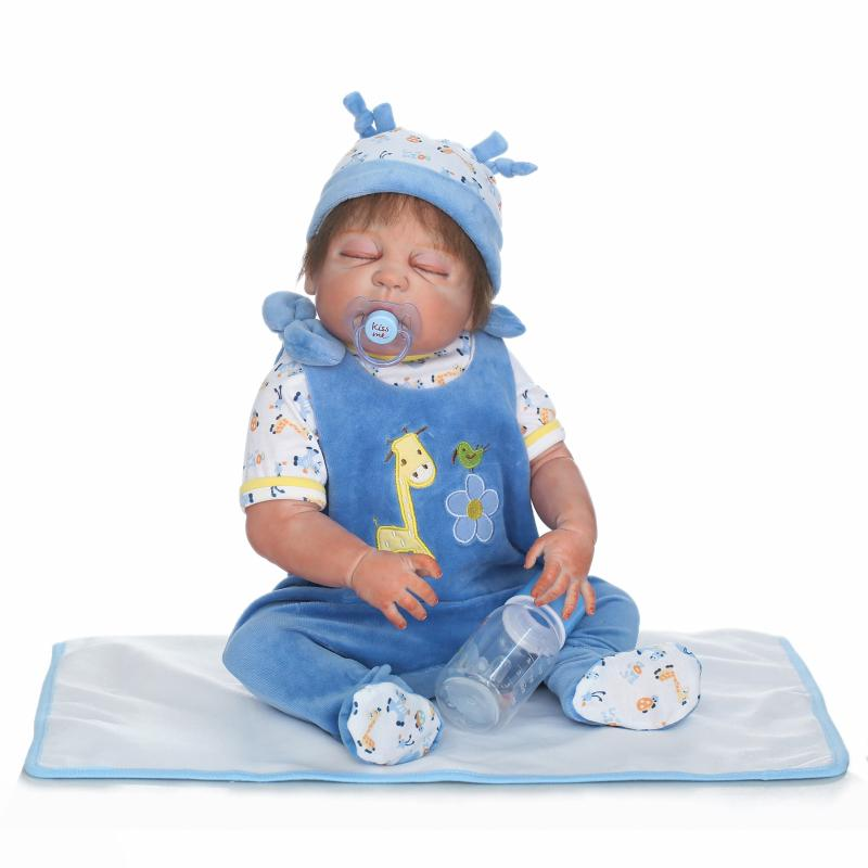 22 Inch Silicone Dolls Reborn Boy 55cm Full Body Realistic Reborn Baby Doll Bathed Doll Toy in Soft Blue Clothes Birthday Gifts 22 inch silicone dolls reborn boy 55cm full body realistic reborn baby doll bathed doll toy in soft blue clothes birthday gifts