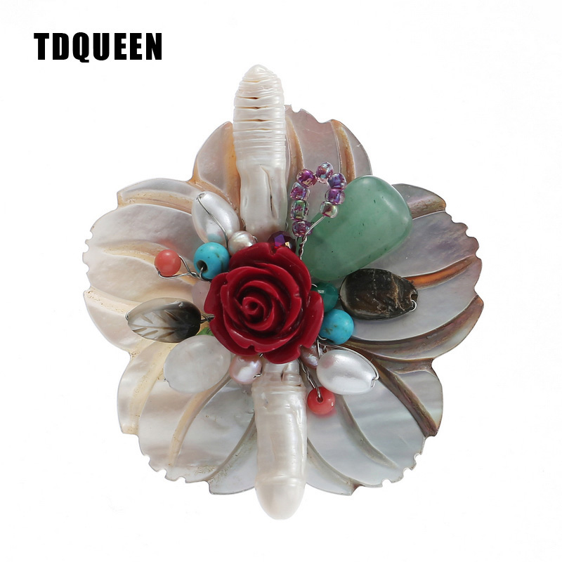 TDQUEEN Natural Shell Flower Brooches Antique Silver Plated Fresh Water Pearls and Natural Stone Beads Brooch Pin for Women ethnic antique silver color leaf brooches pin