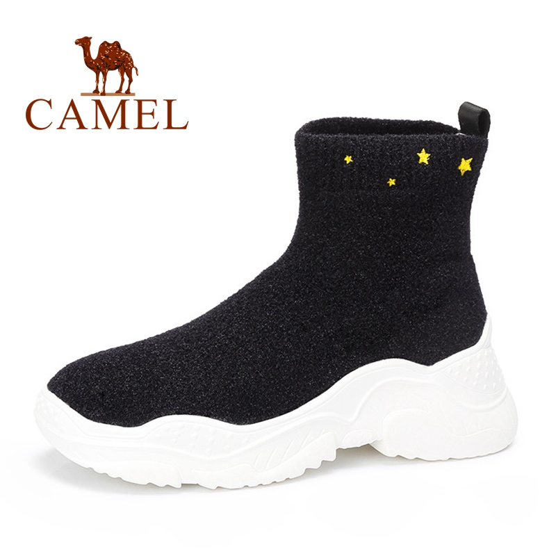 CAMEL Shoes Women Winter Boots Stretch Fabrics Socks Boots Casual Ankle Platform Shoes Female Sneakers Slip