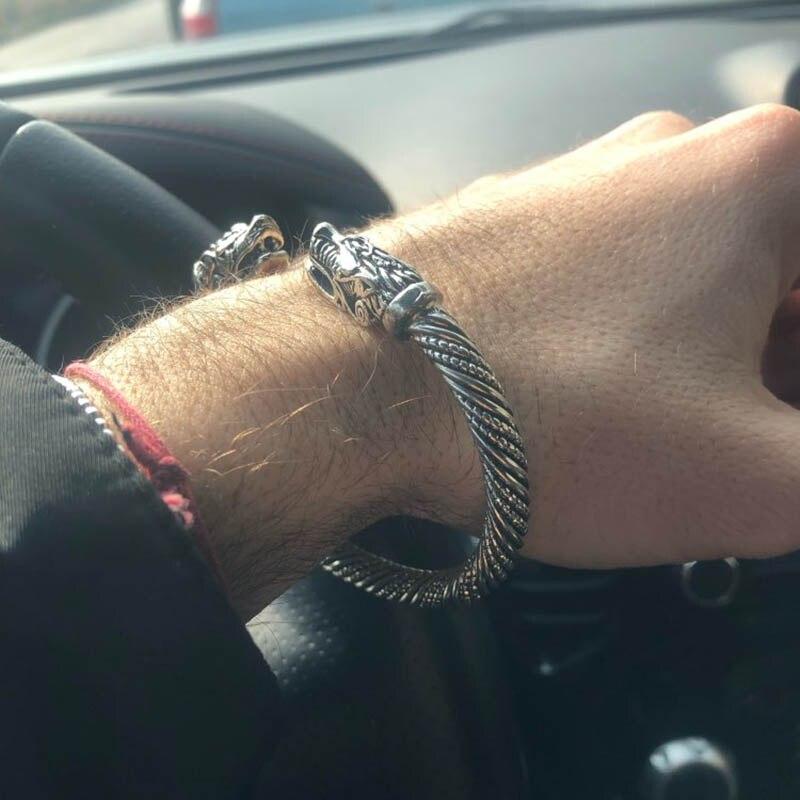 Prata de ouro do vintage adolescente lobo bangles indiano jóias viking pulseira masculino pulseiras de punho para feminino acessórios de moda