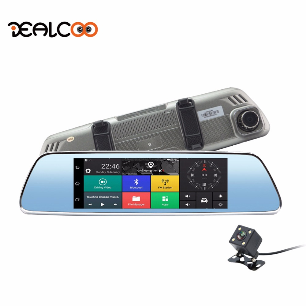Dealcoo 3G Dash Cam 7 Android 5.0 Dual Lens Rearview Mirror Car Camera DVR Registrator GPS Parking Monitor Night Vision Car DVR