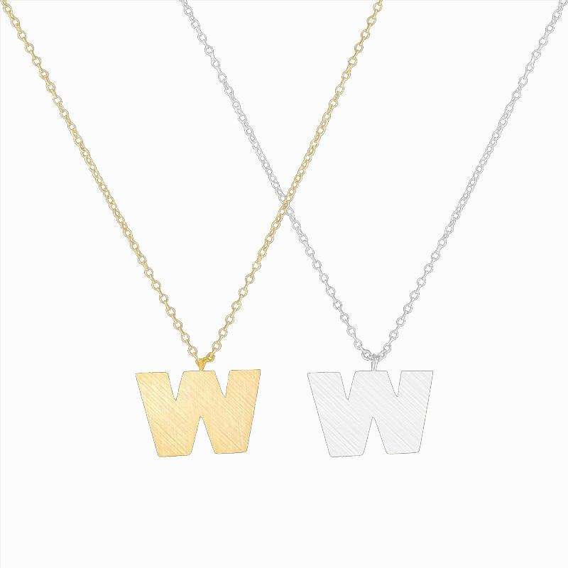 866658605 بيان إلكتروني W قلادة طوق الذهب اللون كابيتال W القلائد الرجال المجوهرات الفولاذ  المقاوم للصدأ للنساء قلادة هدايا اكسسوارات
