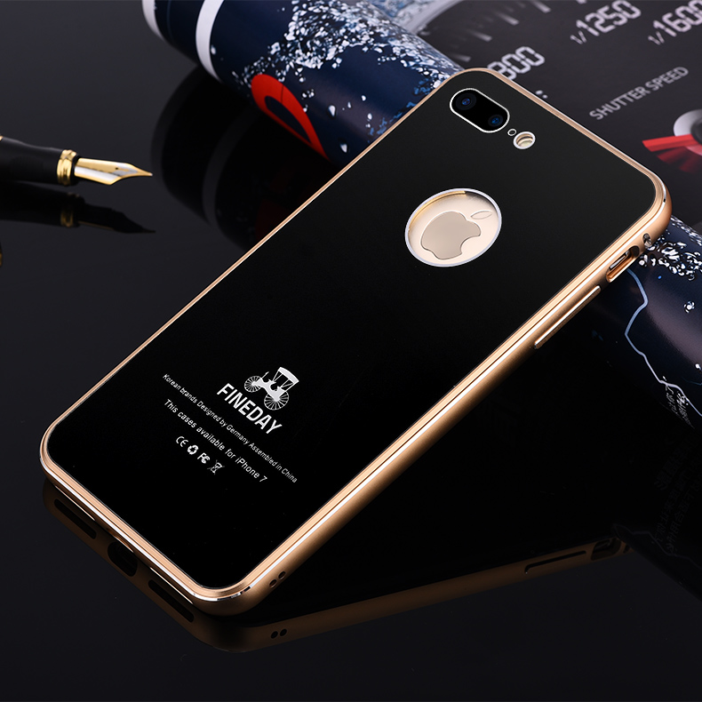 Luxury Premium Aluminum Metal Phone Cases For iPhone 7 8 Plus Original 9H Hardness Tempered Glass Back Cover Case Accessories