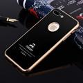 Premium luxury casos de telefone de metal de alumínio para iphone 7 7 plus original 9 h dureza vidro temperado tampa traseira caso acessórios