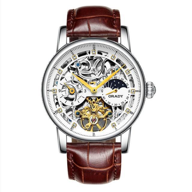 ad9bafcff توربيون رجالي ساعات الأعلى العلامة التجارية الفاخرة للصدمات للماء حزام ساعة  اليد الهيكل العظمي للرجال الميكانيكية