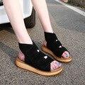 Скраб Кожа Летняя Обувь Женщина Римские Сандалии 2017 Открытым Носком Летние Кожаные Сандалии на Плоской Подошве Большой Размер Мода Сандалии Женская Обувь