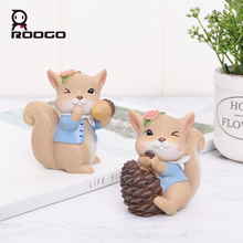 Roogo Creative Small Squirrel Ornaments For Home Decor Cute Miniature Figurines Kids Resin Living Room Decorations