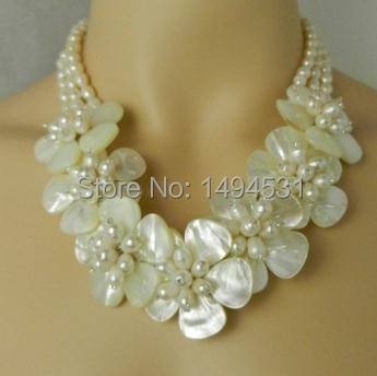 New Arriver Handmade Flower Jewelry Natural Freshwater Pearl Mop Shell Bridal Wedding Jewelry - Free Shipping