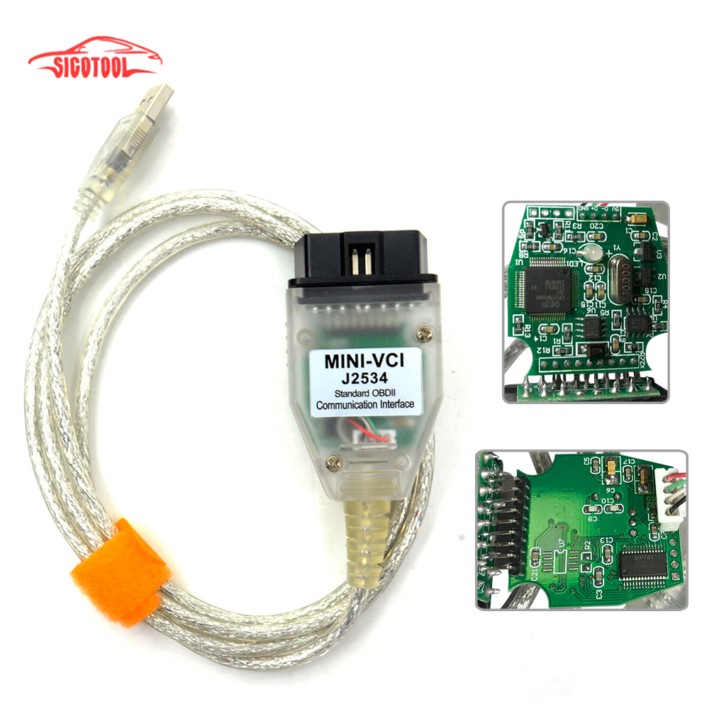 Prix pour Vente chaude Unique Câble Mini-VCI J2534 POUR TOYOTA TIS Techstream V10.30.029 Câble De Diagnostic MINI VCI Avec FT232RL Puce Bateau libre