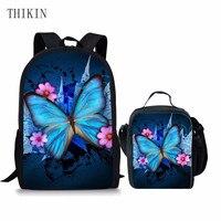 ThiKin Butterfly Printing Girl School Backpack Set Students Teens Girl Bookbags Toddler Children Schoolbag Kid Mochila