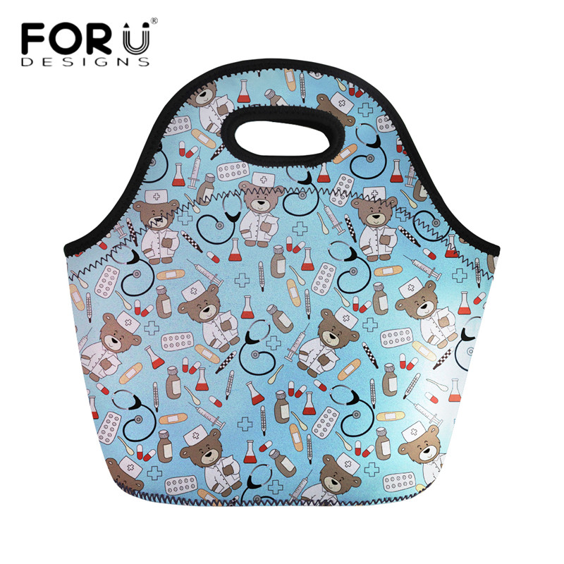 FORUDESIGNS Cute Cartoon Nurse Bear Print Neoprene Lunch Bags Insulated Thermal Food Case for Kids Cooler Warm Dinner Handbags
