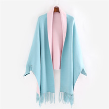 2017 New Imitation Cashmere Solid Color Belt Sleeve Shawl Scarf Winter Women Thickening Warm Tassel Cloak Double-sided Acrylic