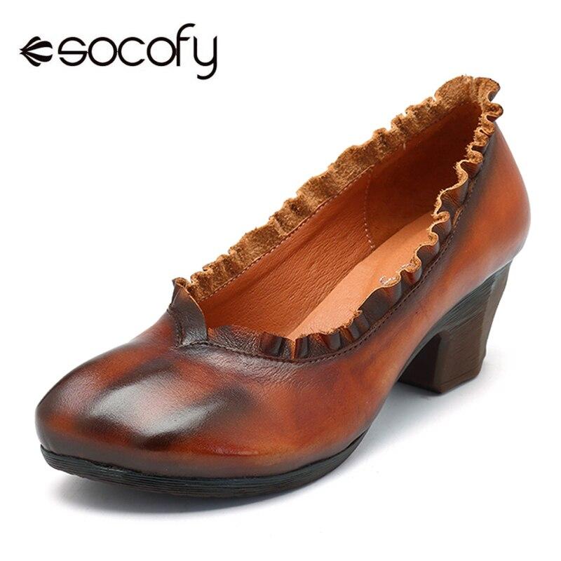 Socofy Genuine Leather Pumps Women Shoes Mid Block Heels Ladies Shoes Vintage Spring Autumn Pumps Heels Woman Slip On Heels New