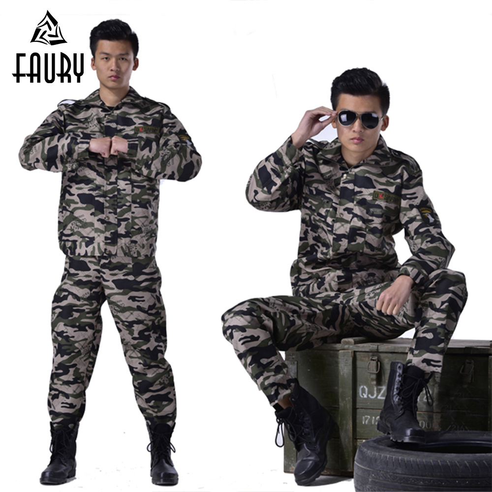 2018 Men Military Uniform Army Clothing 2pcs Top+pants Camouflage Suit Tactical Combat Costume Set High Quality Big Size